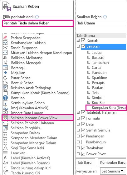 Kotak Sesuaikan reben dalam Excel