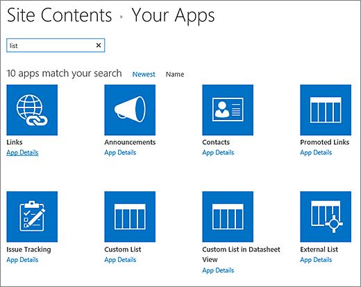 Senarai aplikasi dalam halaman kandungan Laman