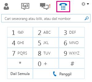 Petikan skrin pad dailan untuk memanggil kenalan
