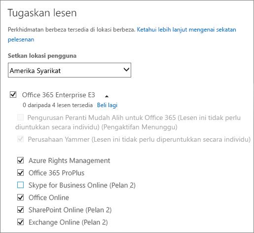 Petikan skrin menu Memperuntukkan Lesen dengan senarai perkhidmatan dikembangkan dan hampir semua perkhidmatan dipilih.