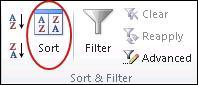 Perintah isih dalam kumpulan Isih & Tapis pada tab Data dalam Excel