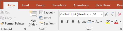 Menunjukkan teks penyerlah pada reben dalam PowerPoint.