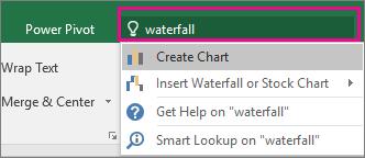 Kotak Beritahu saya dengan teks air terjun dan hasil dalam Excel 2016 for Windows