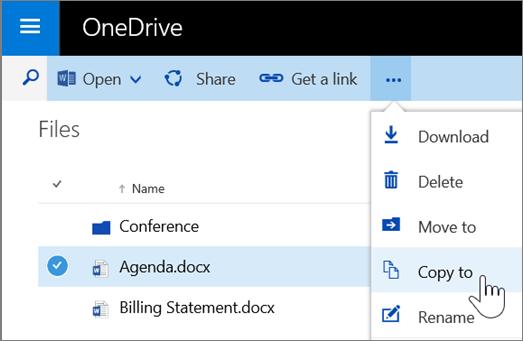 Petikan skrin Salin ke perintah dalam OneDrive for Business