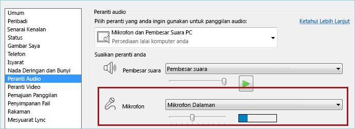 Petikan skrin semak mikrofon audio Lync