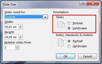 Dalam kotak dialog Saiz Slaid, anda boleh mengubah orientasi slaid kepada Potret atau Landskap.