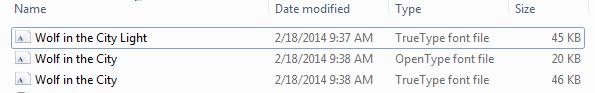 Senarai fon dalam fail dibuka zip.