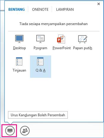 Petikan skrin pengurus Soal dan Jawab