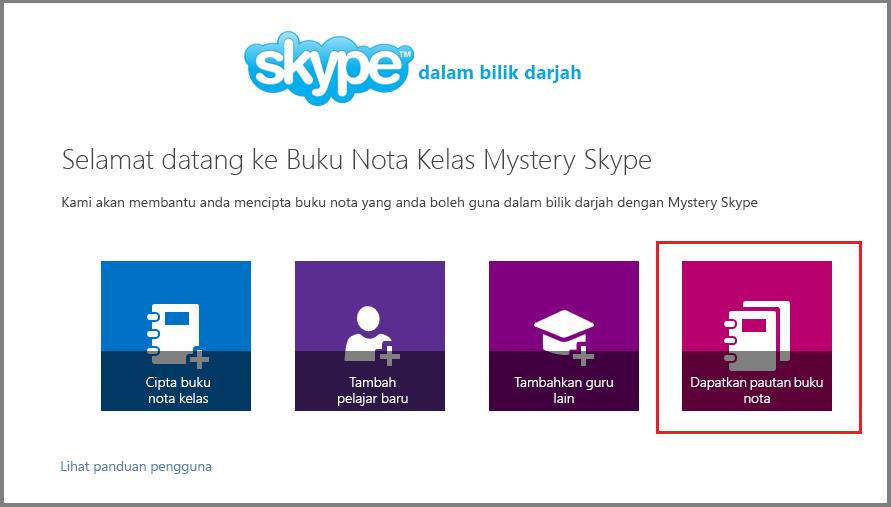 Dapatkan pautan dalam Mystery Skype