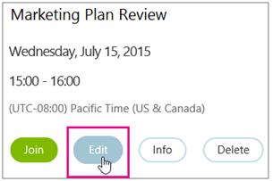 Butiran mesyuarat dengan butang Edit diserlahkan