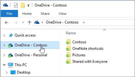 Petikan skrin yang menunjukkan penjelajah fail dengan OneDrive for Business folder yang dipilih.