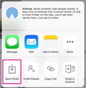 Petikan skrin butang Simpan foto dalam aplikasi OneDrive pada iOS