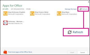 Butang Segar Semula Aplikasi untuk Office