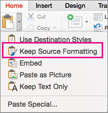 Opsyen Simpan pemformatan sumber pada menu tampal