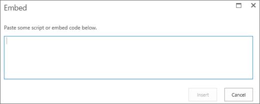 Petikan skrin dialog terbenam dalam SharePoint Online untuk menampal skrip atau membenamkan kod untuk fail audio atau video dan kemudian masukkan kod.