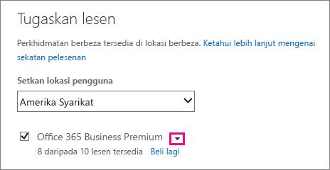 Petikan skrin menu Memperuntukkan Lesen dengan senarai perkhidmatan diruntuhkan dan anak panah juntai bawah diserlahkan.