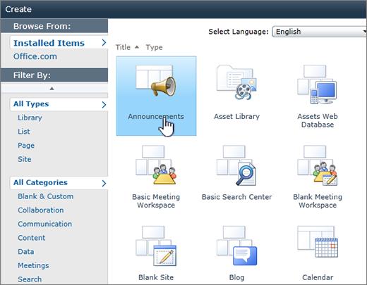 Halaman senarai atau pustaka SharePoint 2010 mencipta dengan pengumuman yang diserlahkan