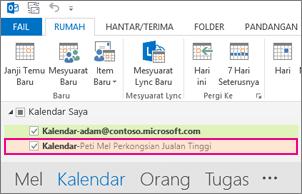 Kalendar kongsi dipaparkan dalam Senarai Folder dalam Outlook