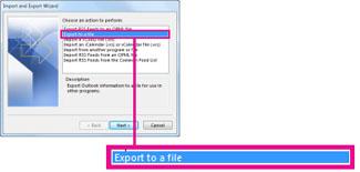 Opsyen Eksport ke fail dalam Bestari Import dan Eksport