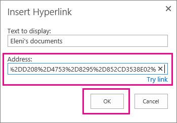 Selitkan URL ke folder OneDrive.