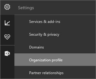 Petikan skrin menu seting dengan profil organisasi yang dipilih