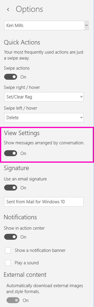 Pandangan Matikan pandangan perbualan dalam aplikasi Mel untuk Windows 10