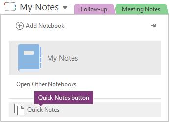 Butang Nota pantas di bahagian bawah senarai buku nota