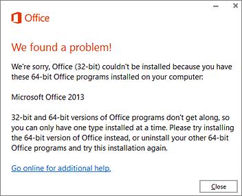 Tidak dapat memasang 32 bit disebabkan mesej ralat Office 64 bit
