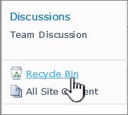 Pautan kitar semula laman SharePoint 2010 pada bar lancar cepat