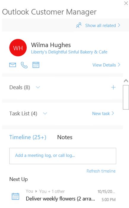 Skrin Selamat datang Outlook pelanggan Pengurus