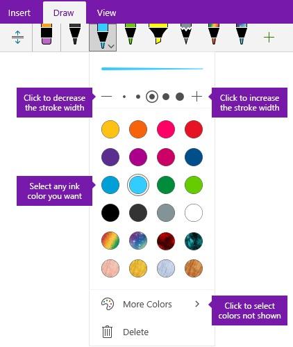 Dakwat lejang lebar dan warna opsyen dalam OneNote for Windows 10