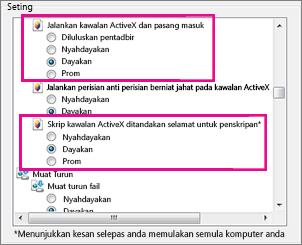 Benarkan kawalan ActiveX untuk dimuat dan dijalankan dalam Internet Explorer