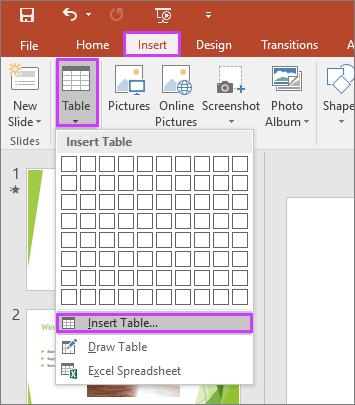 Menunjukkan opsyen Jadual dalam tab Selitkan pada reben dalam PowerPoint