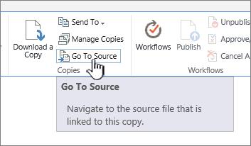 Pergi ke sumber daripada tab fail dalam reben