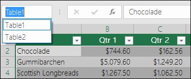 Bar alamat Excel di sebelah kiri Formula bar