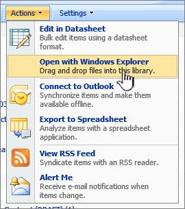 Buka dalam Windows Explorer menu opsyen di bawah tindakan
