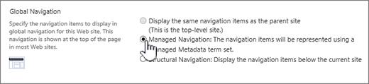 Seting navigasi global dengan navigasi terurus yang dipilih