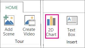 Butang Carta 2D pada tab Rumah Power Map