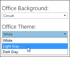 Pilih Tema Office yang berlainan