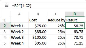 Contoh menunjukkan pengurangan jumlah dengan peratusan