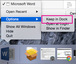 Opsyen menu aplikasi yang terbuka menunjukkan perintah Simpan dalam Dok