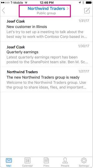 Pandangan perbualan yang mudah alih Outlook dengan pengepala yang diserlahkan