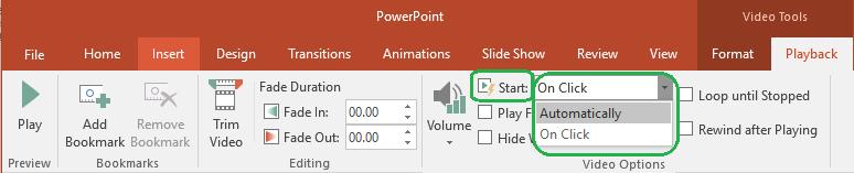 Untuk video yang diselitkan dari komputer anda, anda boleh memilih untuk memulakan mereka secara automatik atau apabila diklik.