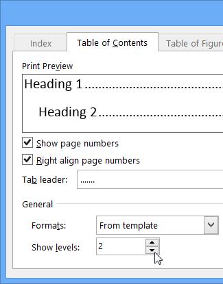 Mengubah atau menambah aras dalam jadual kandungan word for Microsoft office table of contents template