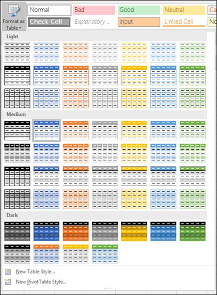 Galeri gaya jadual Excel
