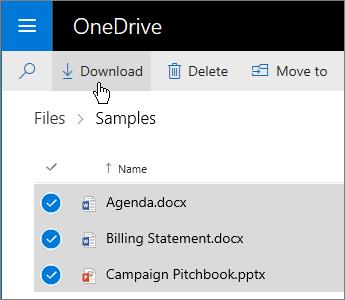 Petikan skrin memilih fail OneDrive dan memuat turunnya.