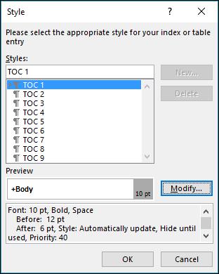 Dialog ubah suai gaya membolehkan anda mengemas kini rupa teks dalam jadual kandungan.