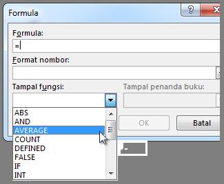 Kotak Formula dengan menu fungsi