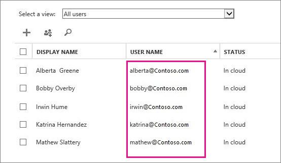 Lajur Nama Pengguna dalam pusat pentadbiran Office 365.