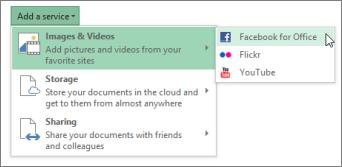 Menambah perkhidmatan, seperti Flickr atau Facebook untuk Office